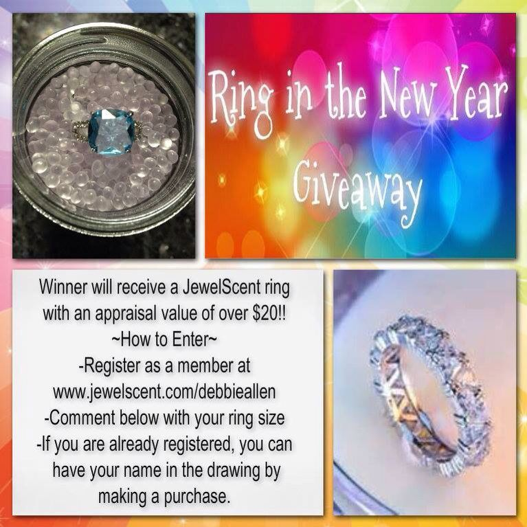 Ring In The New Year!! Who would like to win a FREE Ring? If you haven't registered on my website then head on over and do that and you will be entered into the drawing. If you are already registered, you can still be entered by making a purchase. Each item purchased will get your name in the drawing. And don't forget to comment your ring size below! WINNER will be picked on 1/7/15 at 12 p.m. CST www.jewelscent.com/debbieallen #jewelscent #jewelry #rings #diamondcandles #candles #bling
