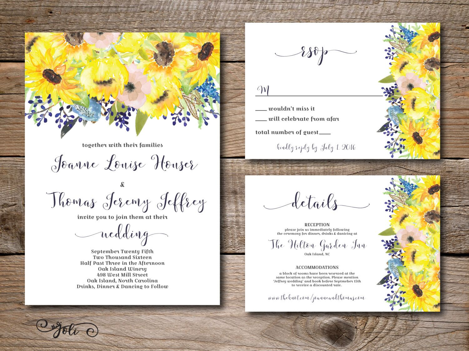Printable Watercolor Blue and Sunflower wedding invitation, RSVP and ...