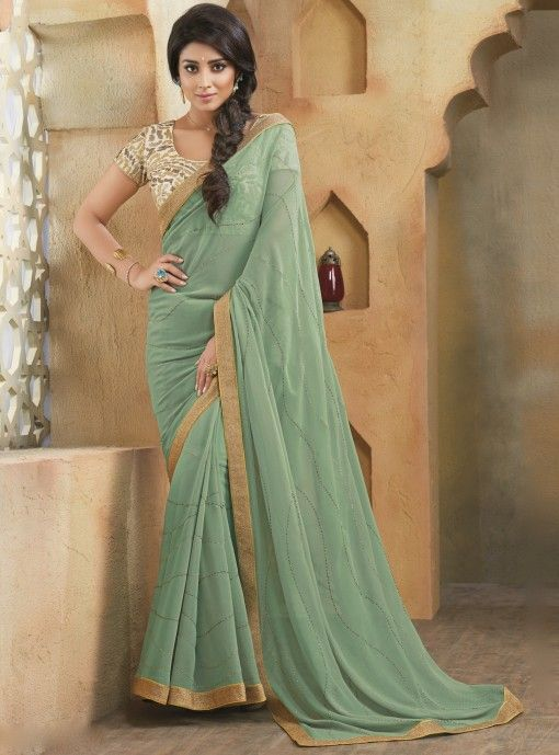 c8c0c29c48 Mint Green Georgette Saree   clothes   Saree wedding, Saree ...