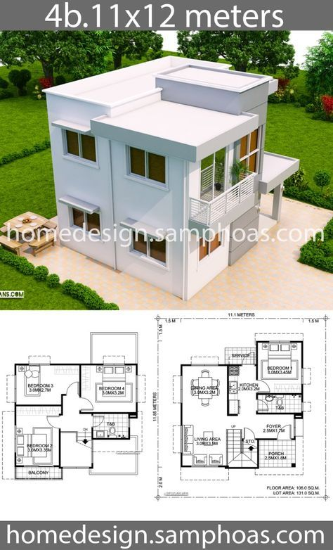 House Design Plans 11x12m With 4 Bedrooms Home Ideassearch Architectural House Plans Bungalow House Design Home Design Plans