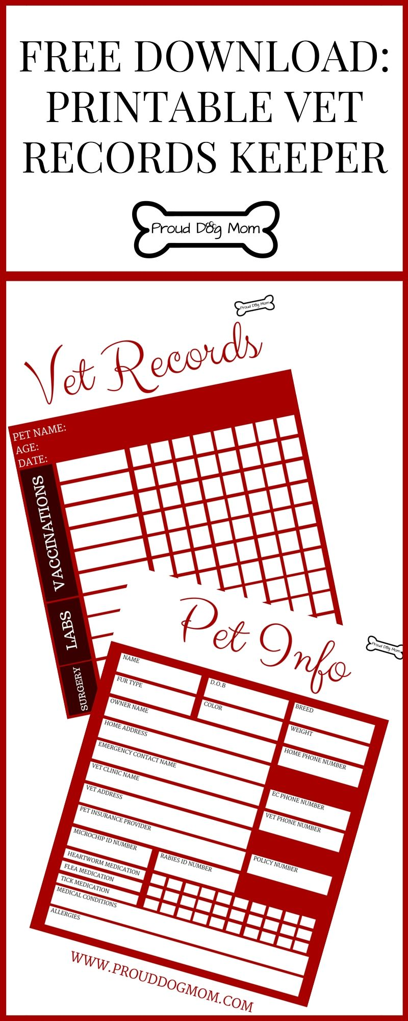 image regarding Dog Health Records Printable called Absolutely free Down load: Printable Vet Documents Keeper Animals Dog