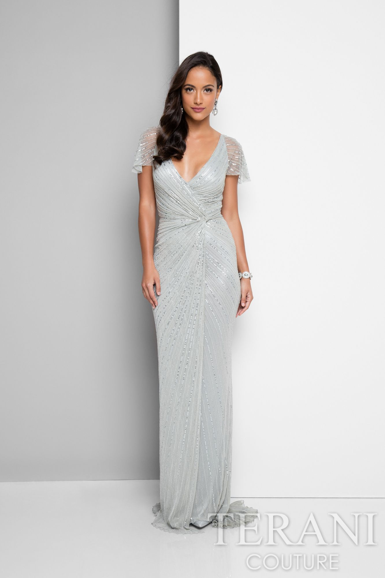 Mother of the bride dress that is softly draped and covered in