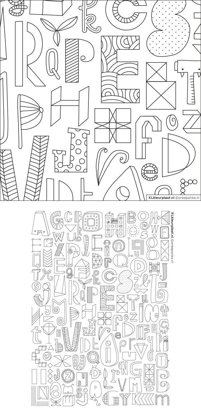 Ben Je Fan Van Handlettering Dan Ga Je Deze Kleurplaat Heel Fijn Vinden Niet 1 Of 2 Maar 4 Keer Alle Letters Van Het Alfabet Elk Me Crossword Puzzle Diagram