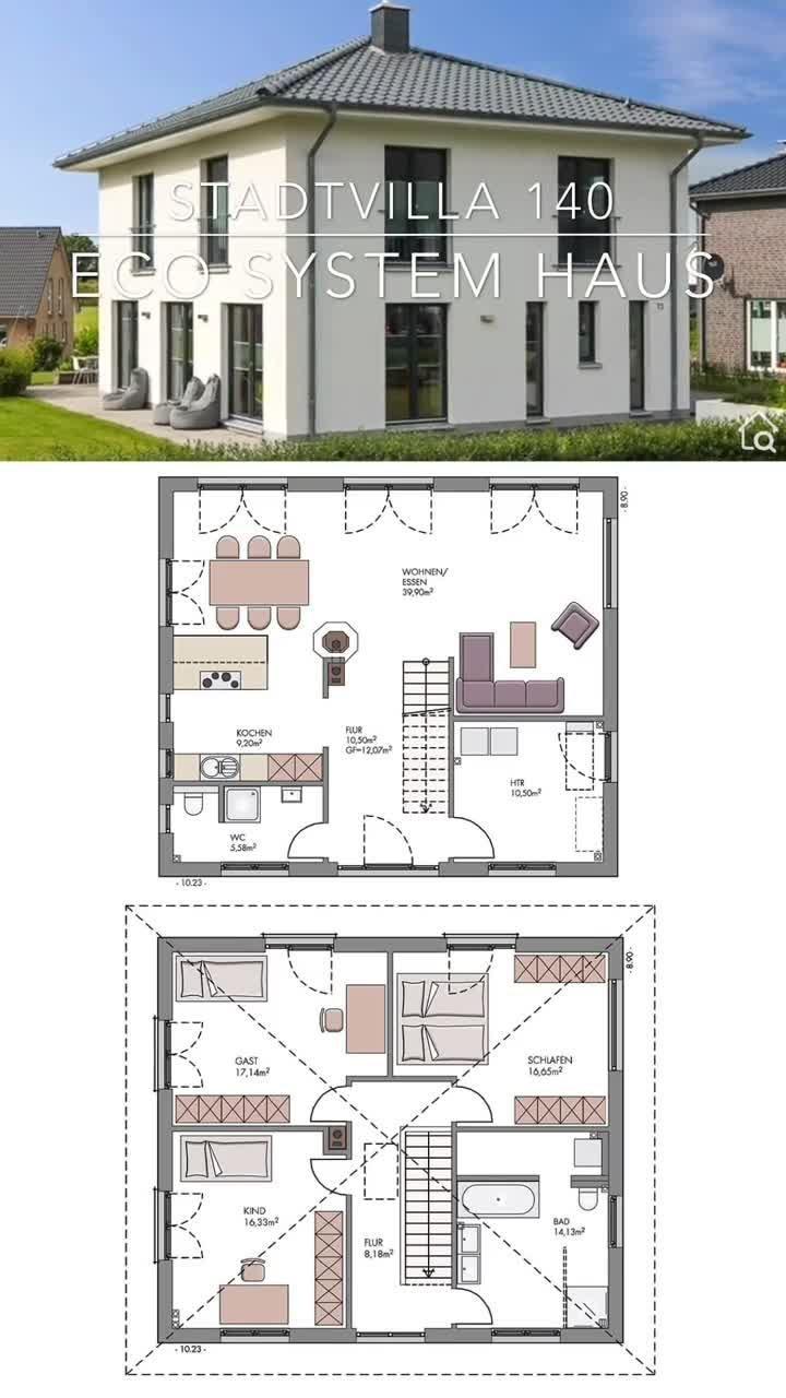 Moderne Einfamilienhaus Stadtvilla massiv bauen mit offenem Haus Grundriss Zeltdach & gerade Treppe
