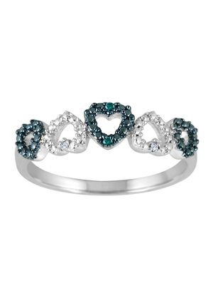 Ideel Designer Collection Groupon Silver Heart Ring Blue Diamond Engagement Ring Beautiful Jewelry