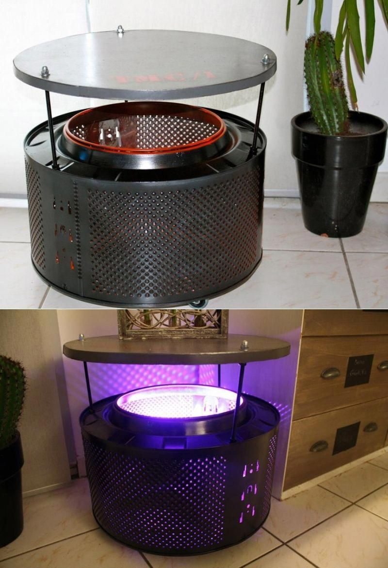 Creative Ideas To Recycle Washing Machine Drum Into Functional Objects  #sidetable #lamp #upcycled #recycled #DIY #homedecorobjects