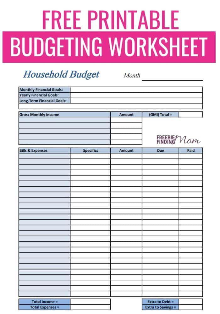 Free Printable Budget Worksheets   Freebie FInding Mom ...