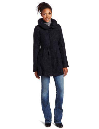 #CoffeeShop #Women's Textured Wool Coat with Hood, Black/Navy, #S              http://amzn.to/HULbWs