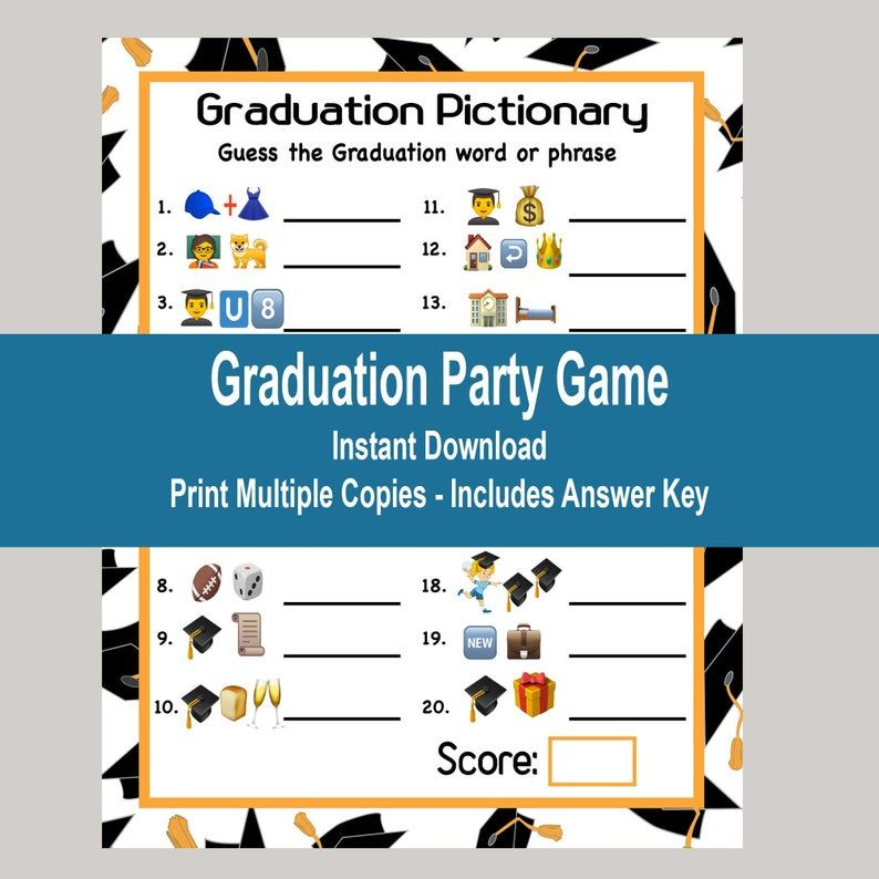 Graduation Games Graduation Emoji Game Graduation Etsy In 2020 Graduation Games Emoji Games Graduation Party Games