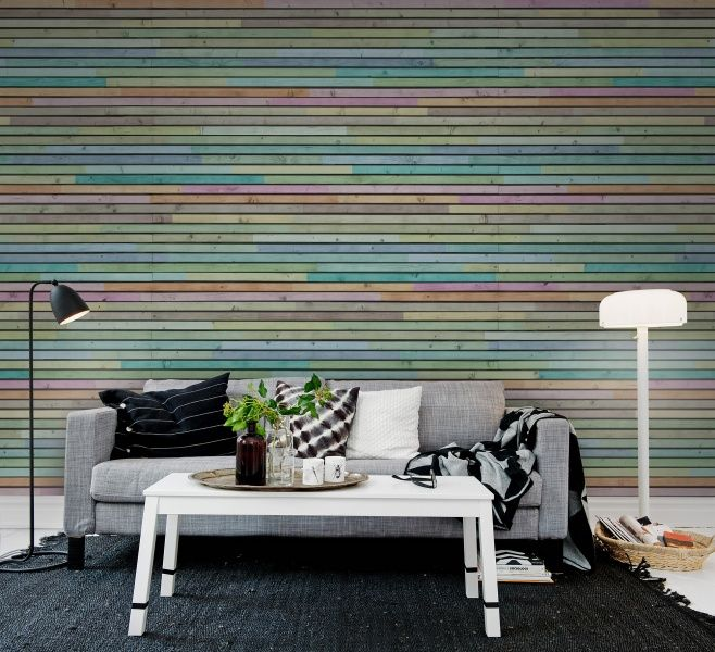 Uplighitng To Accent Wood Slat Wall: Wooden Slats, Striped Walls