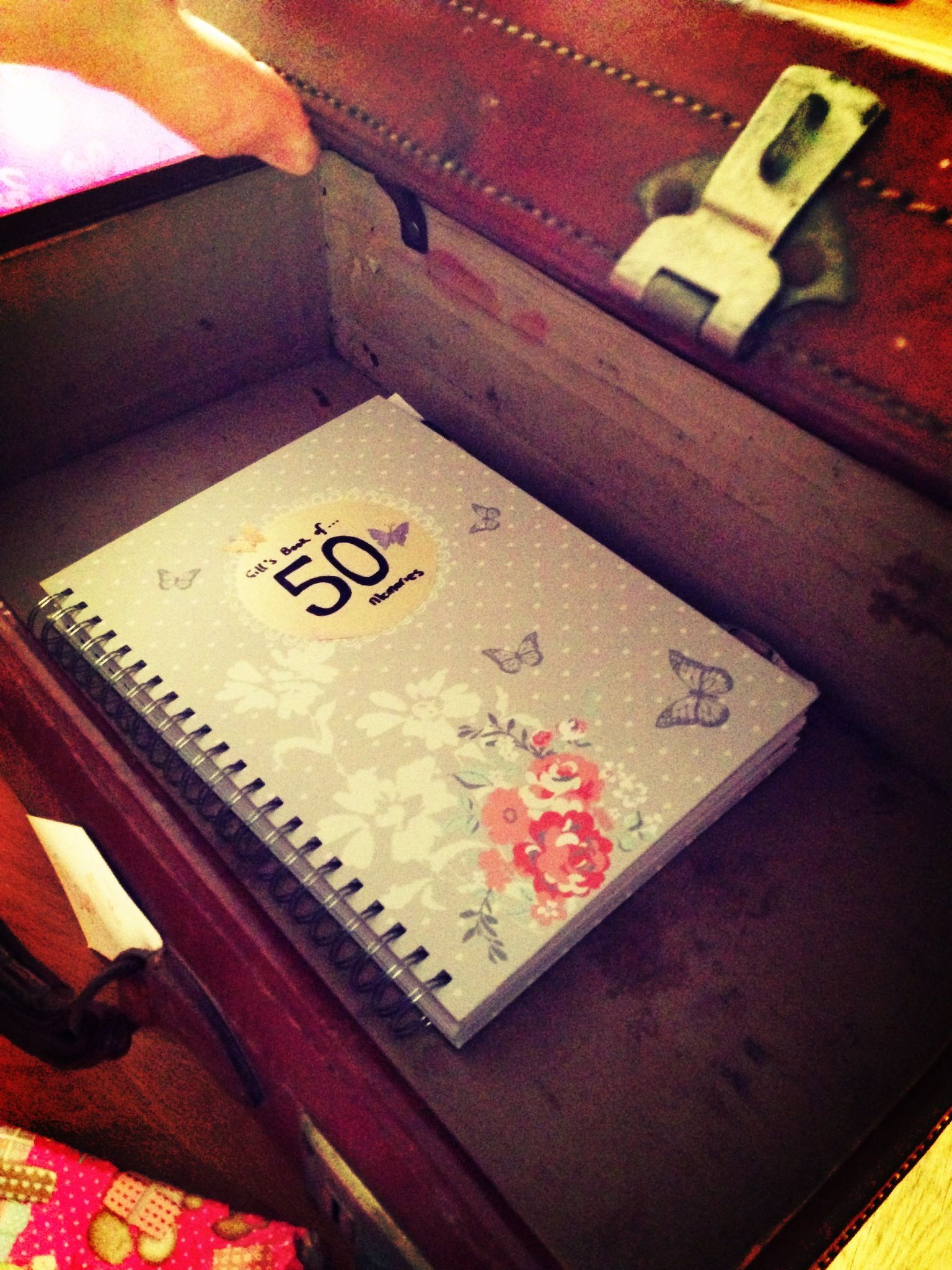 A Vintage Suitcase Holding Book Of 50 Memories For My Mother In Laws 50th BirthdayGood Gift Him To Give Her