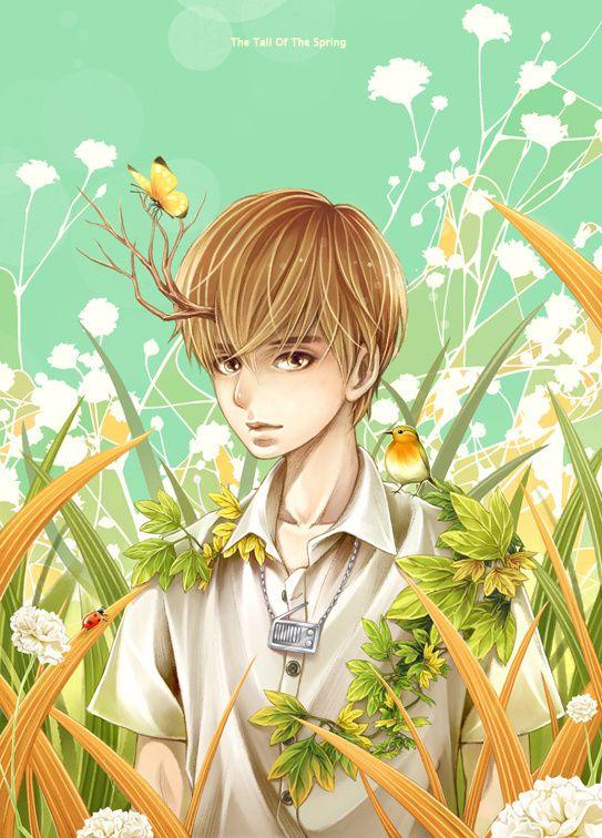緑系イラスト オシャレ格好いい男の子漫画 ハンサムな男子アニメ イラスト アニメ 漫画
