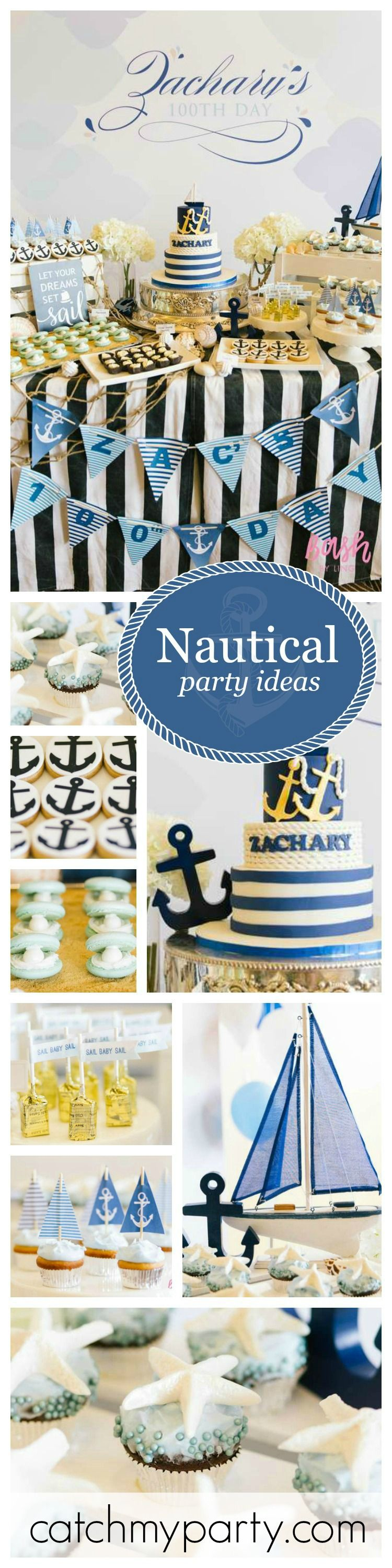 Set sail with this fabulous Nautical Birthday Party celebrating Zachary's 100th…