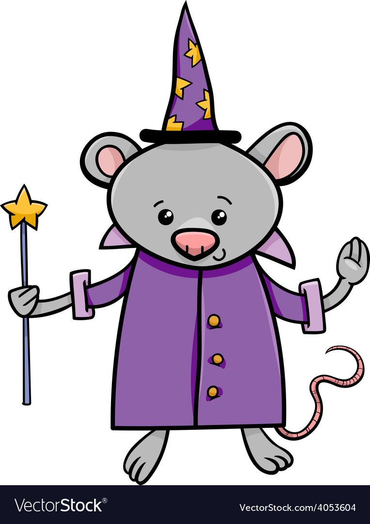 Wizard Mouse Cartoon Vector Image On Vectorstock Cartoons Vector Cartoon Illustration Illustration
