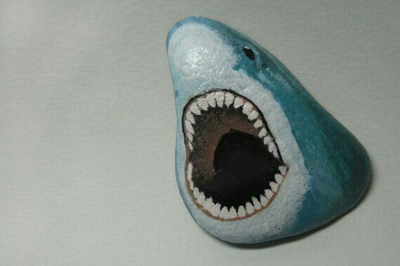 Jaws, the Great White hand painted rock.