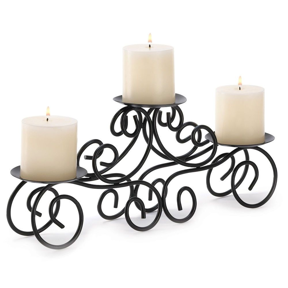 Tuscan candle pillar candleholder black wrought iron table