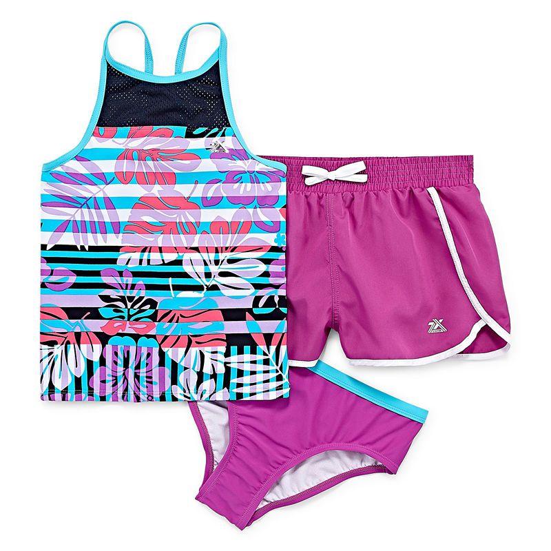 63ac12d20e991 Zeroxposur Girls Tankini Set - Big Kid Swimsuit Tops, Big Kids, Gym Shorts  Womens
