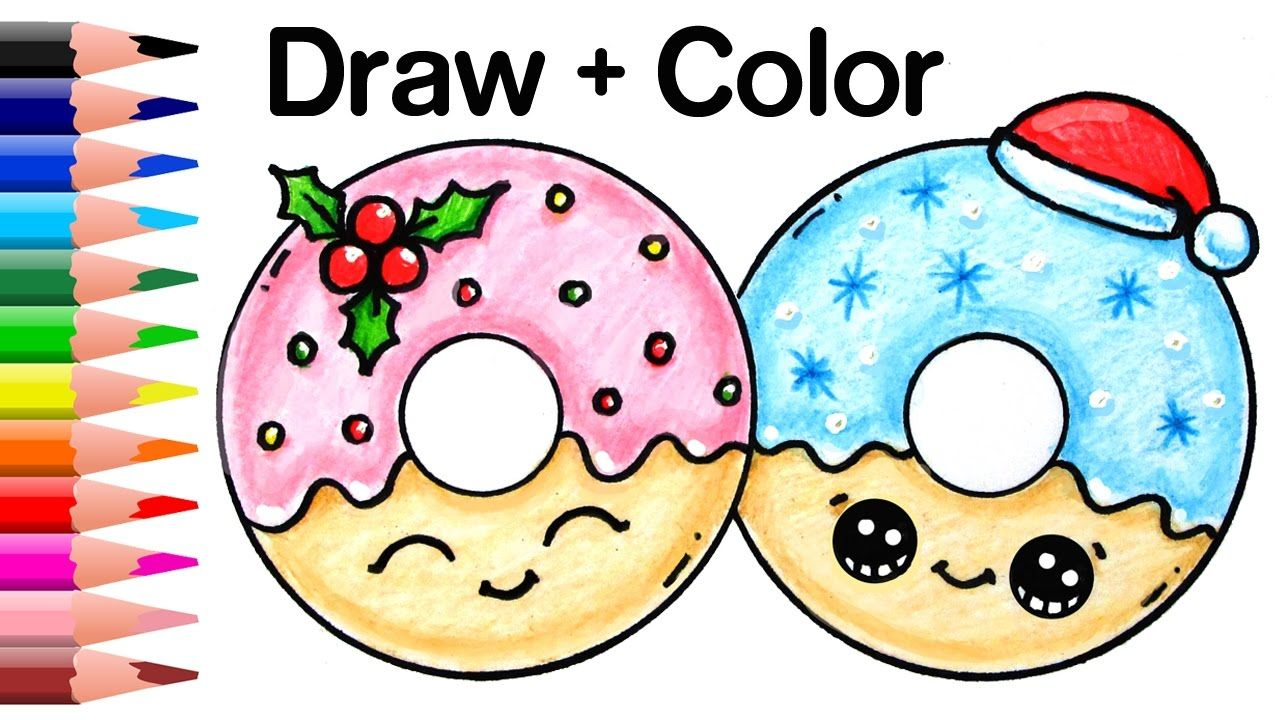 How To Draw Color Christmas Donuts Step By Step Easy And Cute Cute Kawaii Drawings Cute Drawings Kawaii Doodles