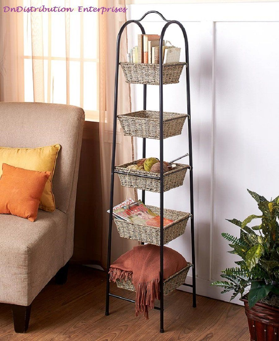 5 Tier Metal Storage Tower with Graduated Size Seagrass