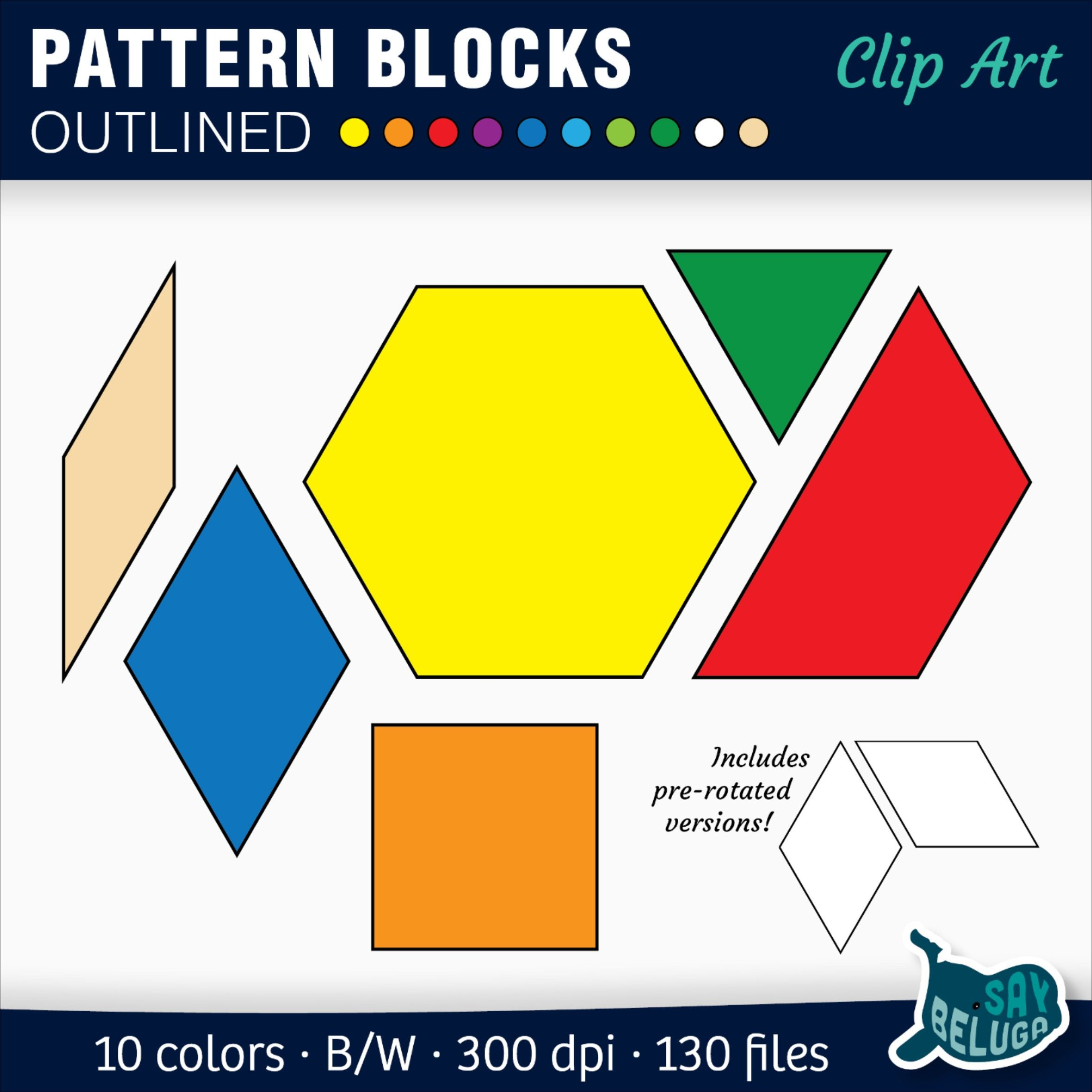 Pattern Blocks Black Outlines In 10 Colors Math Clipart Elementary Resources Clip Art [ 2362 x 2362 Pixel ]