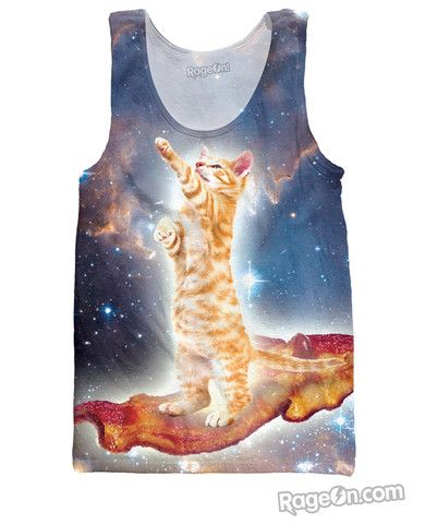 Sleeveless Crew Neck Tank Top//Galaxy Hipster Cat Tank for Men