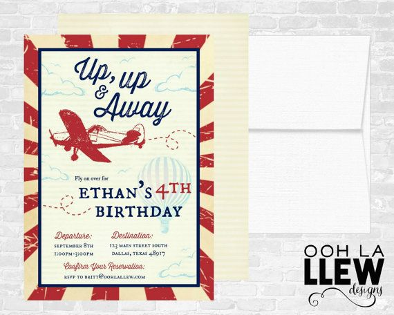 Vintage Airplane Hot Air Balloon Birthday Invitation by OohLaLlew