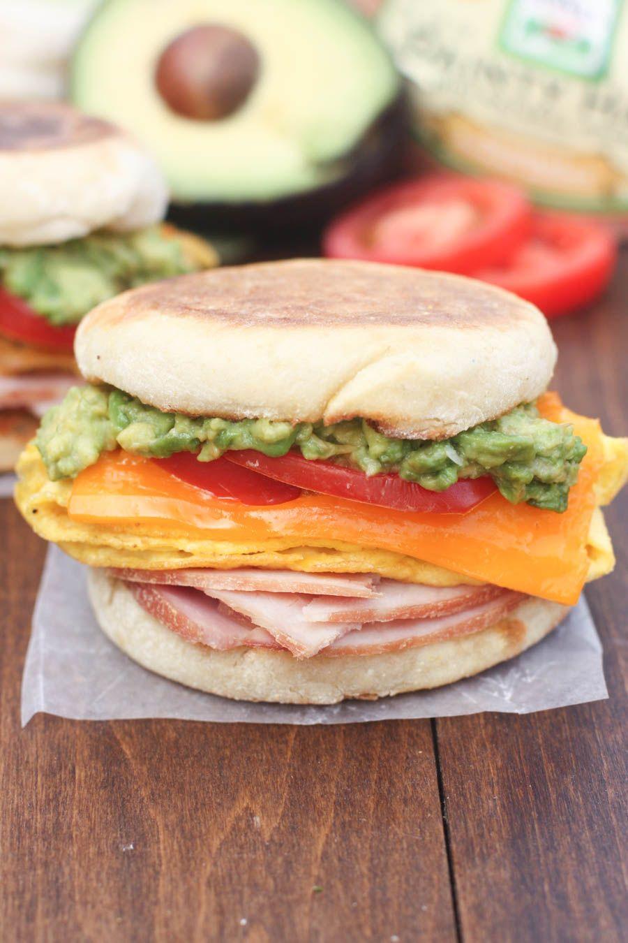 Cheesy egg avocado and ham breakfast sandwich recipe