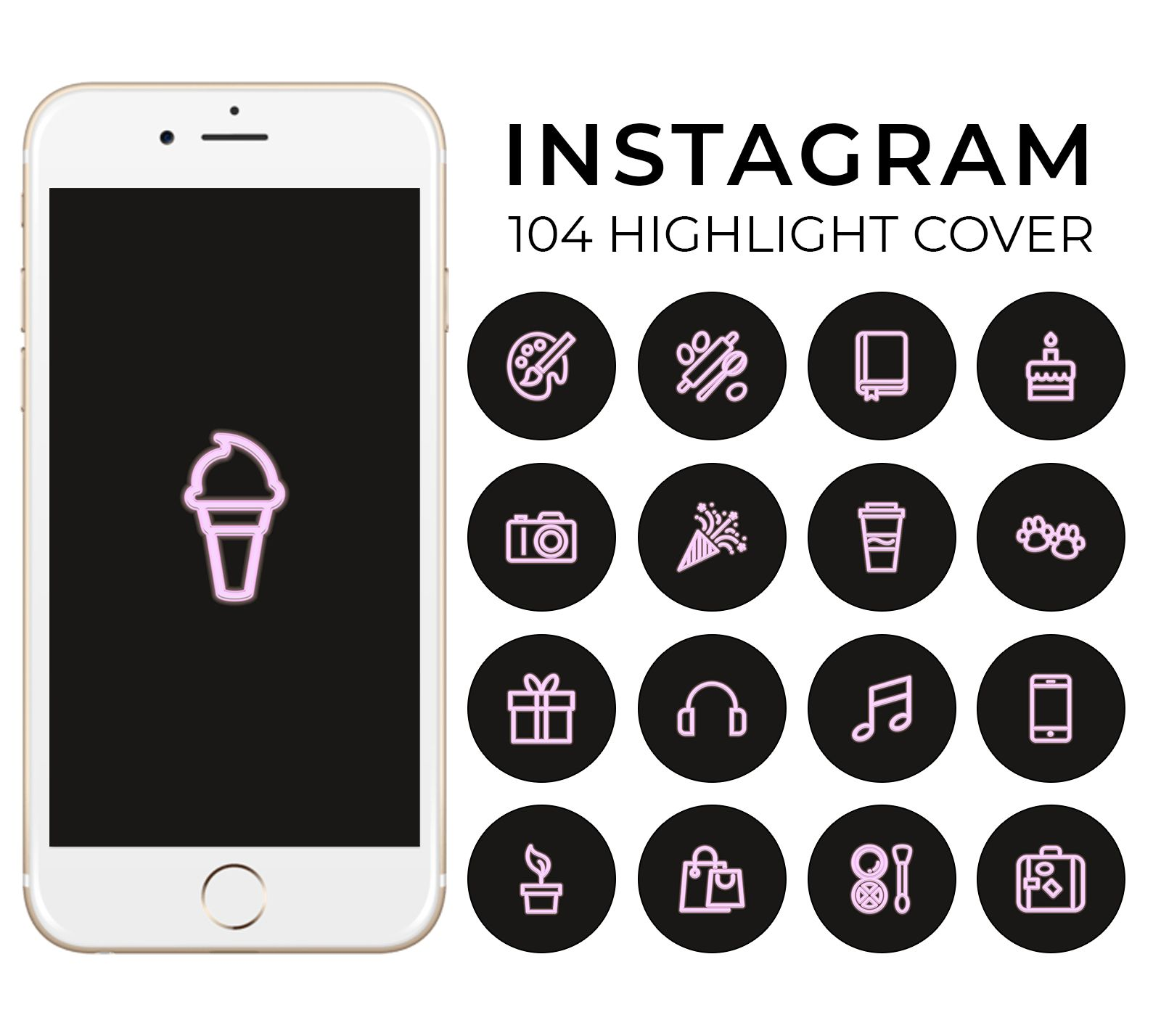 100 Neon Baby Pink Instagram Story Highlight Icons