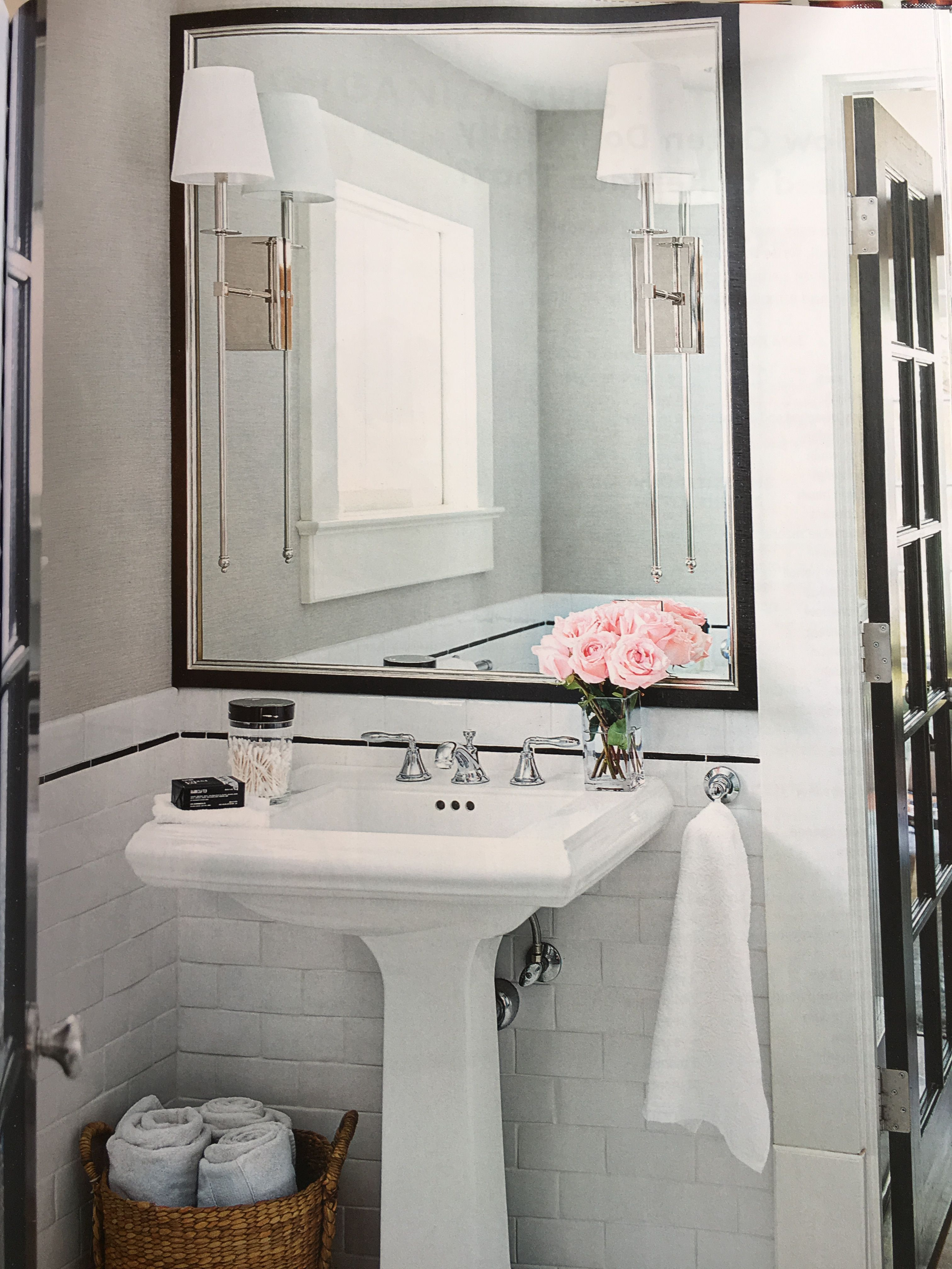Classic Black White Chrome Bathroom With Elegant Features Oversized Square Mirror With Sconces Mounted On Top Subwa Marble Tile Floor Home Gym Mirrors Mirror [ 4032 x 3024 Pixel ]