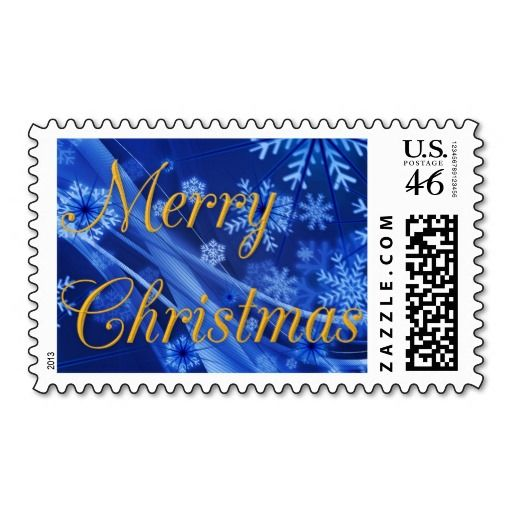 Gold Merry #Christmas Postage Stamps