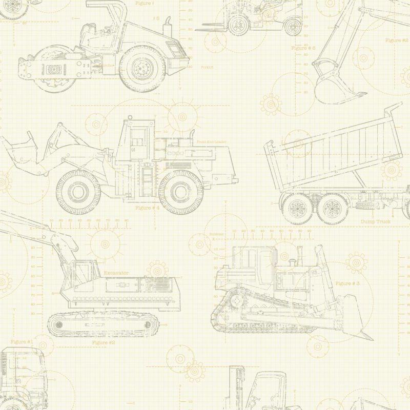York Wallcoverings KS2354 Cool Kids Construction Blueprint Wallpaper Ecru /  Tan / Grey Home Decor Wallpaper