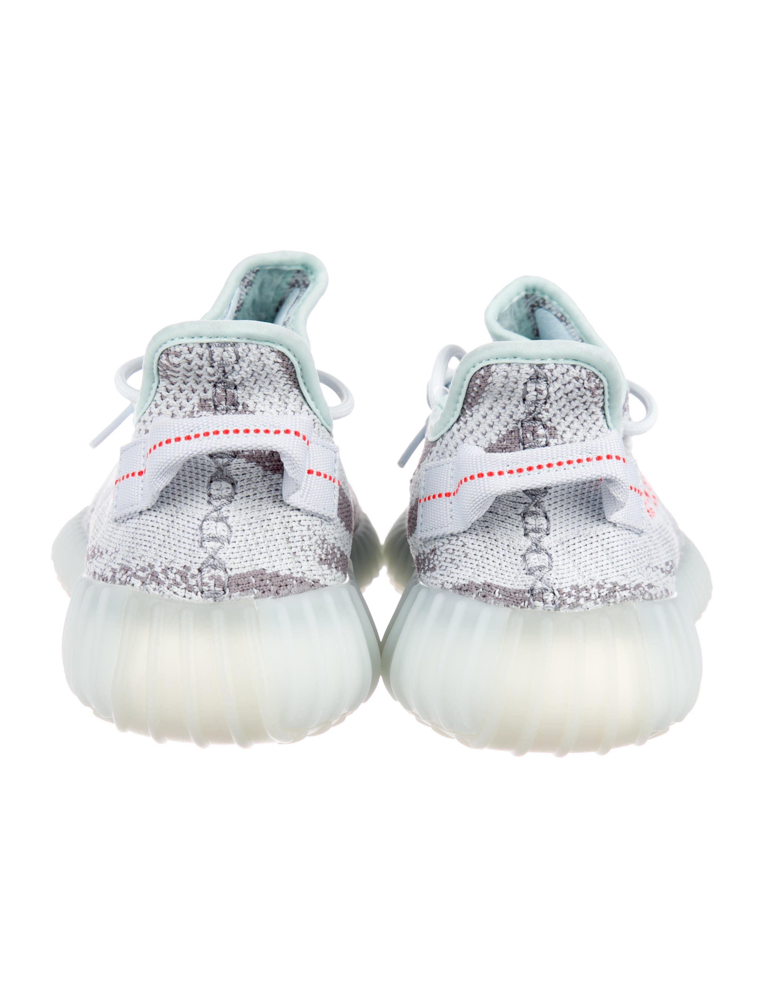 more photos 78e48 6a1ab Men s blue tint and grey prime knit Yeezy for Adidas round-toe low-top 350  V2 Boost Sneakers with rubber soles, signature
