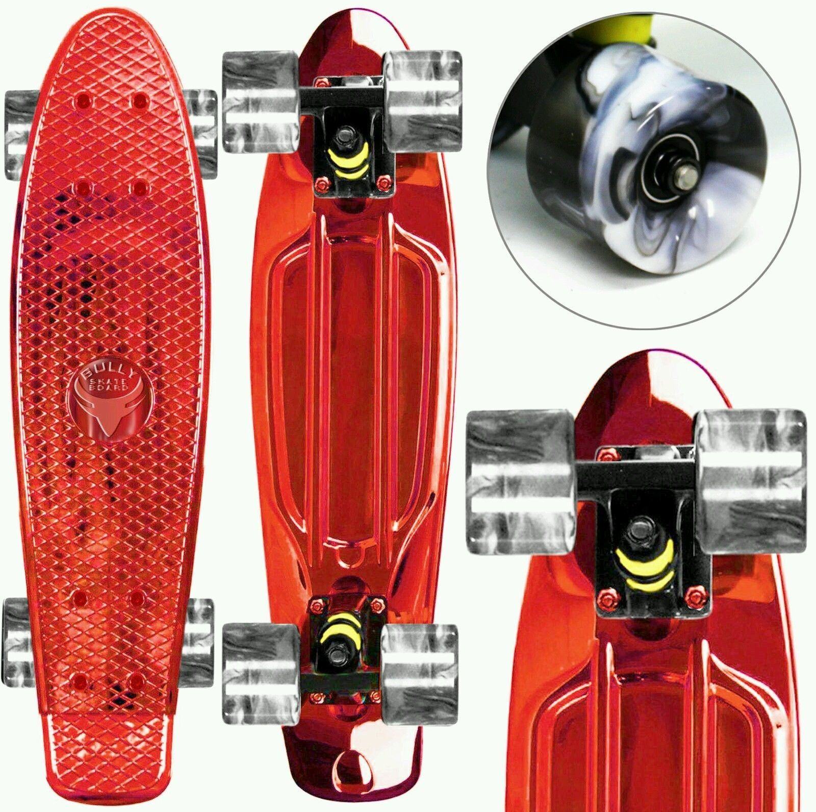 """22"""" Mini Retro Cruiser Skateboard - Anodize Red Swirl Wheels - Complete Board, with Same Day Handling. High Quality made Abec 7 Stainless Steel Bearings. Dimensions: 22 x 6 Inch. Weight 4.5 Lbs. Compact. No assembly required - Full complete Skate Board."""