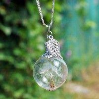 Wish | Handwork DIY Dandelion Necklace, Dandelion Seeds, Botanical Pendant, Tiny Glass Orb, Eco Friendly Pendant Necklace