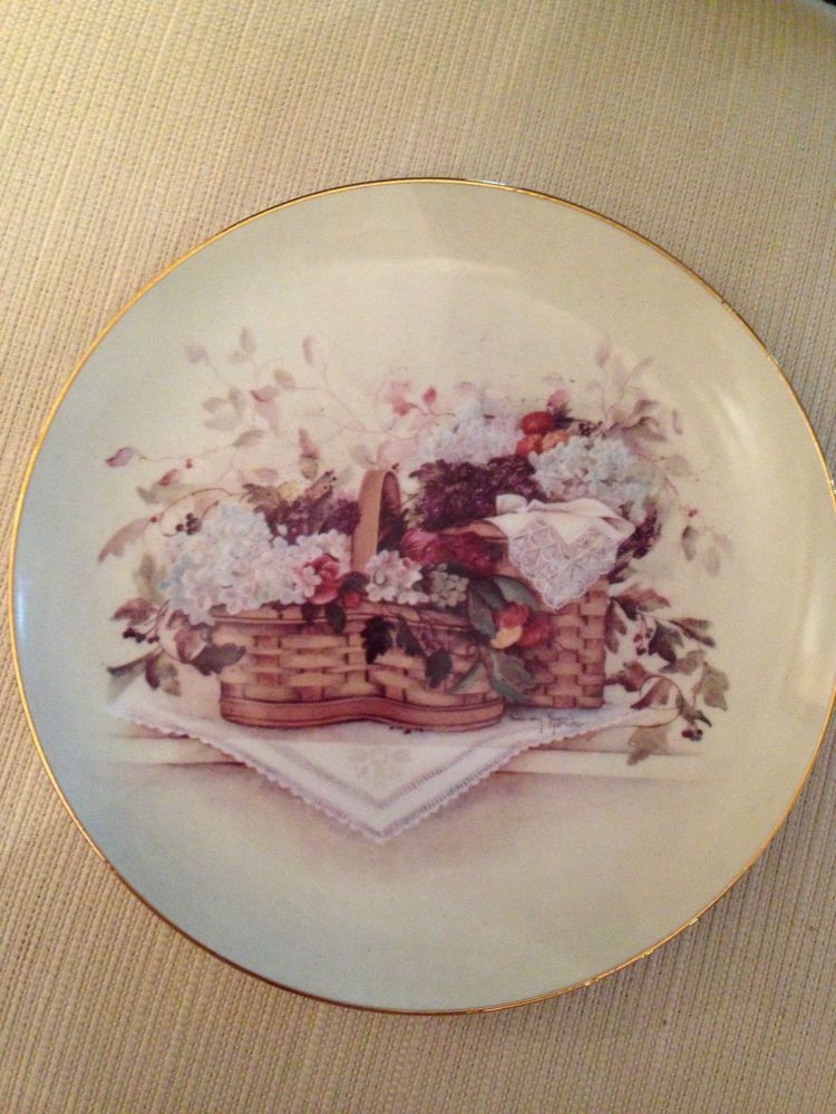 PAT RICHTER BASKET COLLECTION 2000 PLATE SWAN SONG FLOWERS NEW | Pat ...