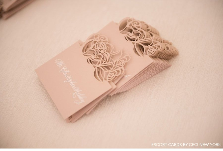 printable wedding place cards vintage%0A Romantic Rose Gold Wedding  Custom lasercut pink place cards by Ceci New  York