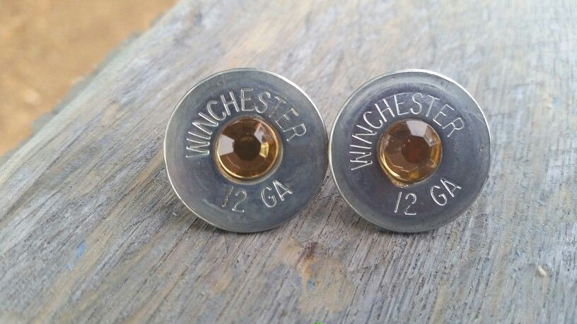 12 gauge shotgun shell stud earrings from The Funky Dingo!  Check us out at www.etsy.com/shop/thefunkydingo1.  Free shipping!