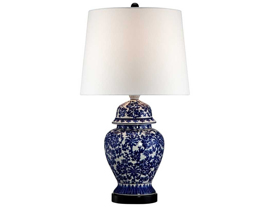 Blue And White Porcelain Temple Ginger Jar Table Lamp
