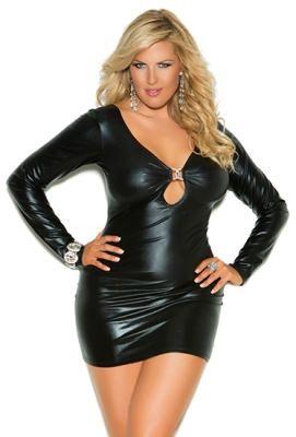 Plus Size Black Club Dress with Open Back - Plus size black wet look ...
