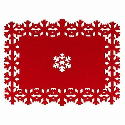 4 X Christmas Table Placemats Coasters Dining Mats Red Place Santa Dinner Felt Christmas Snowflake Placemat Festive Tables