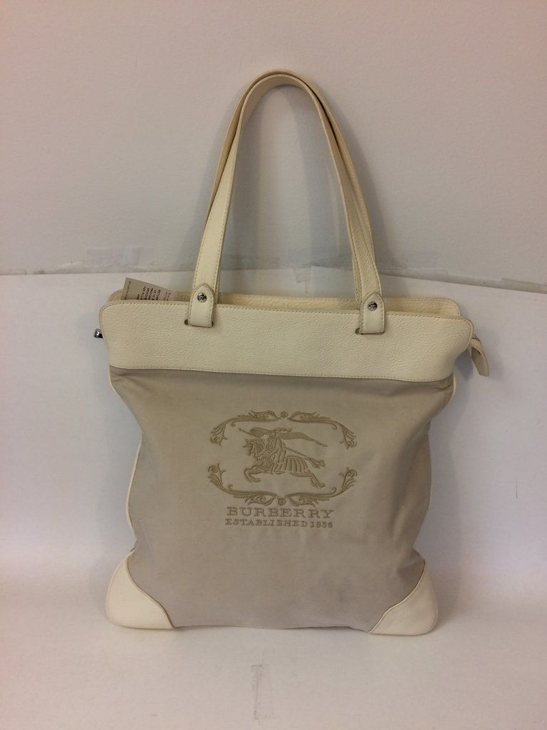 a467214a35de Burberry Cream Leather and Canvas Tote Bag