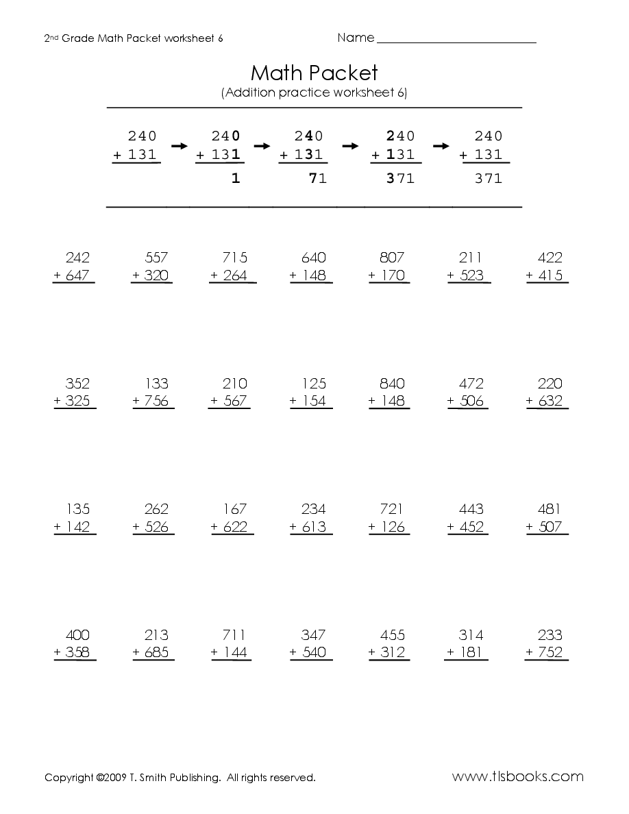 Second Grade Math Packet   2nd grade math worksheets [ 1188 x 918 Pixel ]