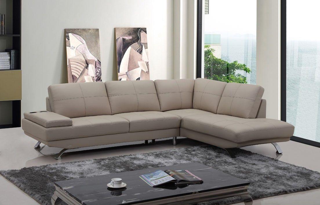$1482 Divani Casa Knight Modern Beige Leather Sectional Sofa