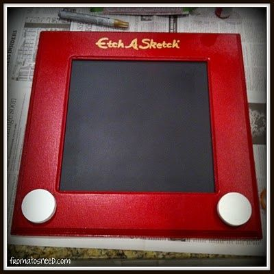 Etch-a-sketch chalkboard (for a toy story room) - Wood Frame or Popsicle sticks - Chalkboard or Black Construction Paper - Red Paint - White Cirles