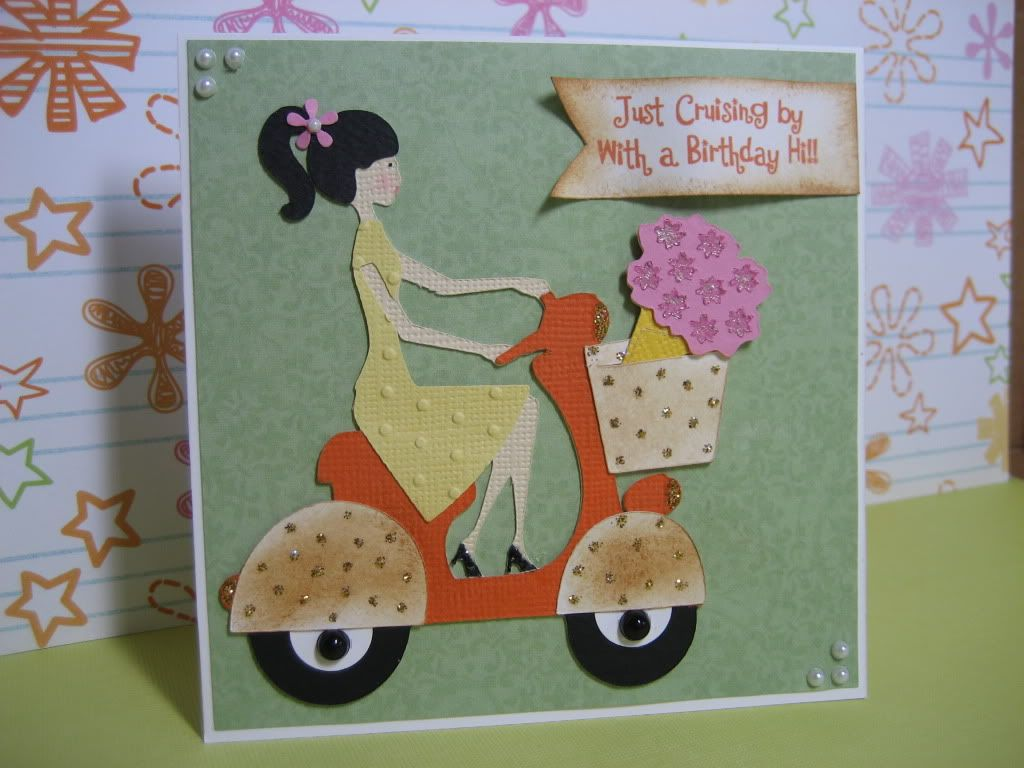 Lady on scooter Cricut birthday card Sweethearts – Cricut Birthday Card Ideas