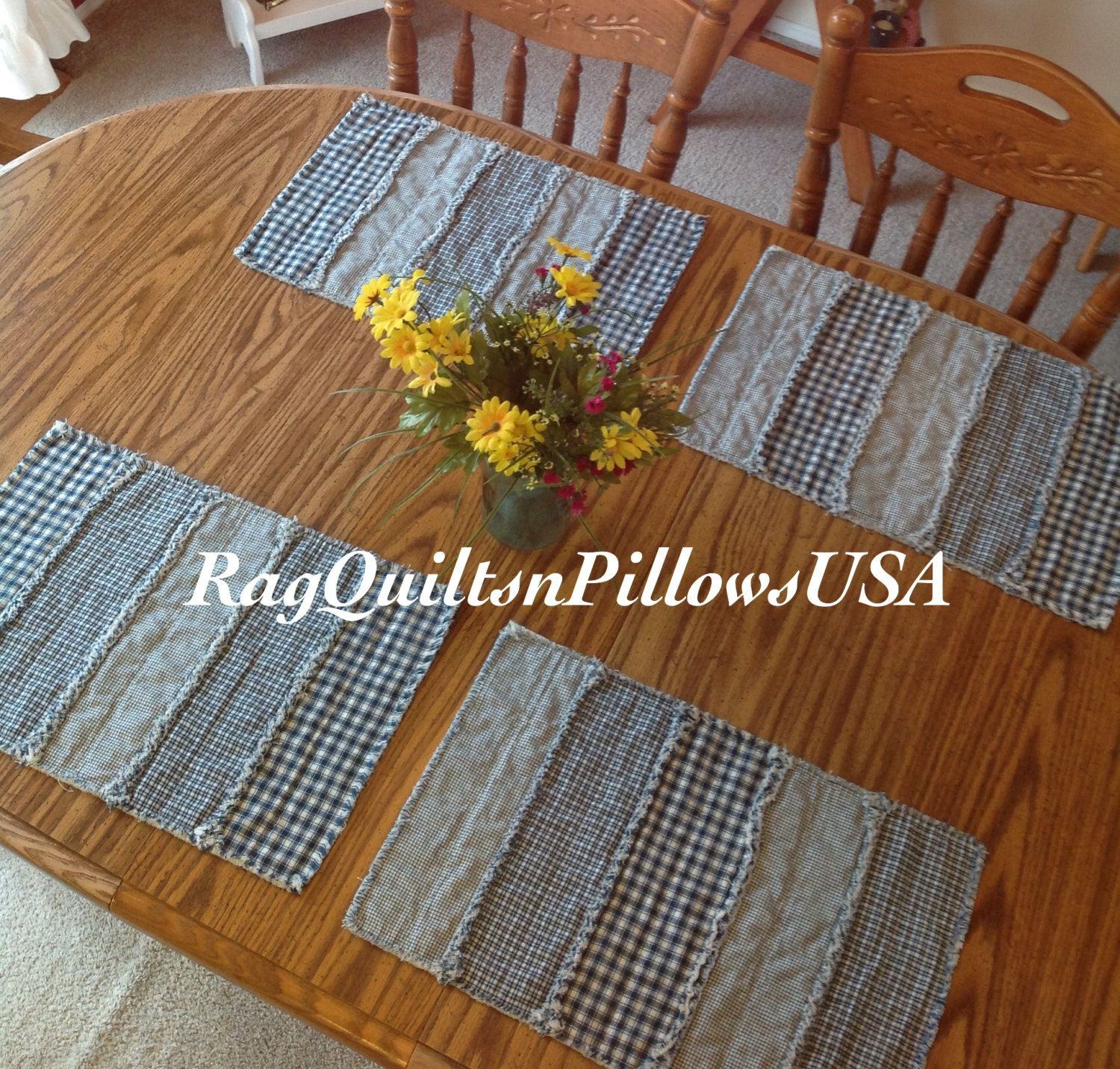 Quilted Placemats Country Placemats Set 2 Primitive Country Western Decor Rustic Placemats Homespun Handmade Rag Strip Blue White & Quilted Placemats Country Placemats Set 2 Primitive Country ...
