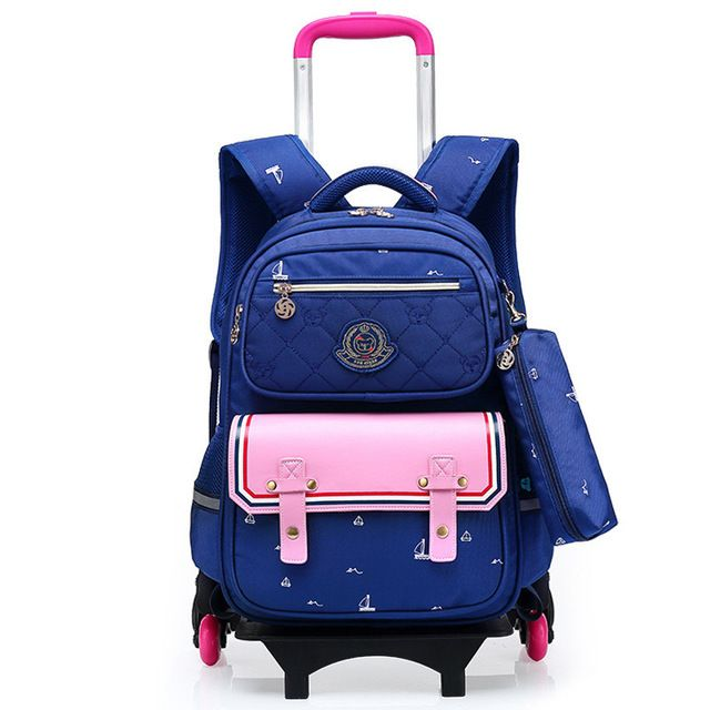 3175ef408923 Fashion Removable Children School Bags with 6 Wheels Child Waterproof Trolley  Backpack Kids Wheeled Bags Girls Bookbag Review