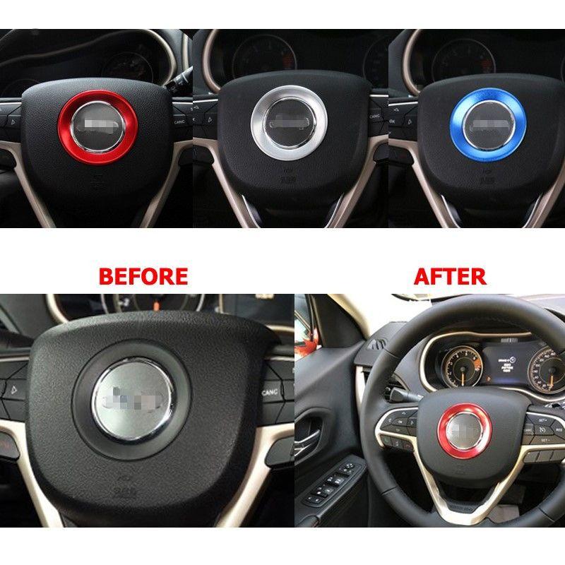 Car Steering Wheel Cover Sequin Stickers Aluminum Trim Accessories