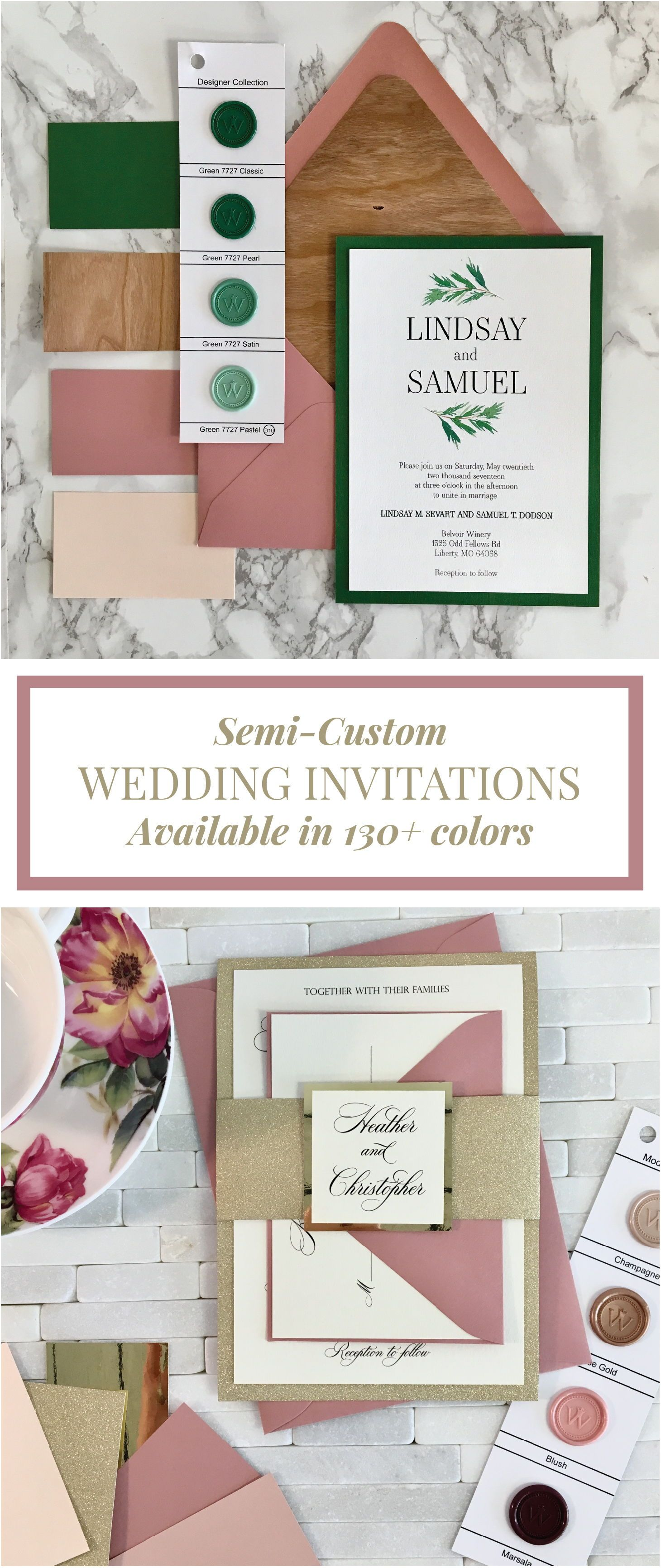 This Dusty Pink And Gold Glitter Wedding Invitation Is Perfect For A
