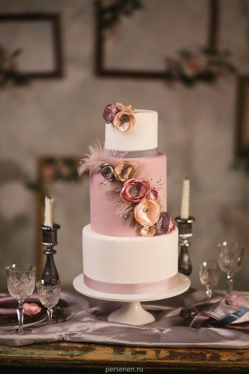 Dusty Pink Mauve Pale Rose Wedding Cake With Feathers And Silk - Dusty Pink Wedding Cake
